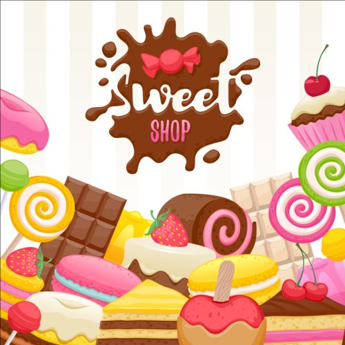 Sweet shop background sweets vector 01