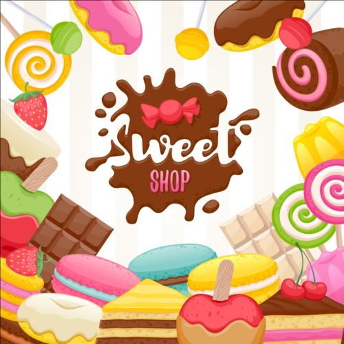 Sweet shop background sweets vector 02