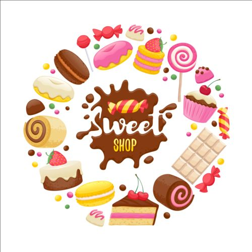 Sweet shop background sweets vector 03