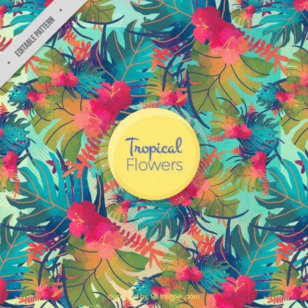 Coloured Watercolour Leaves Tropical Pattern Free Ai Vector