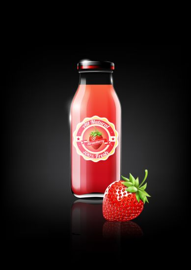 Strawberry Juice and Glass Bottle Free Vector