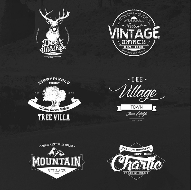 Vintage Vector Logos and Design Kit + 15 Free Logo Templates