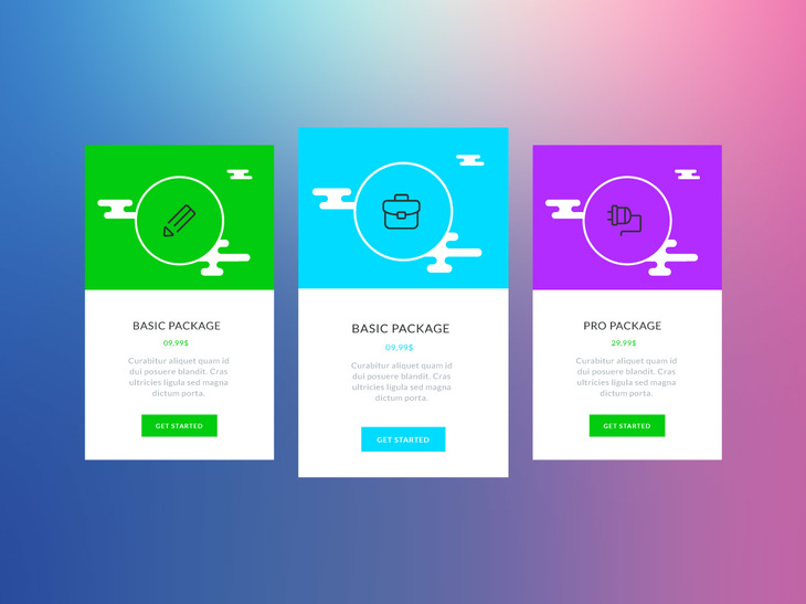 Colourful Vector Pricing Tables