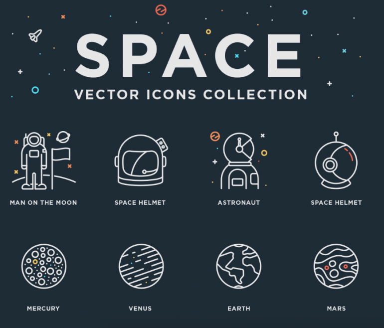 Astronaut / Space Vector Icon Set