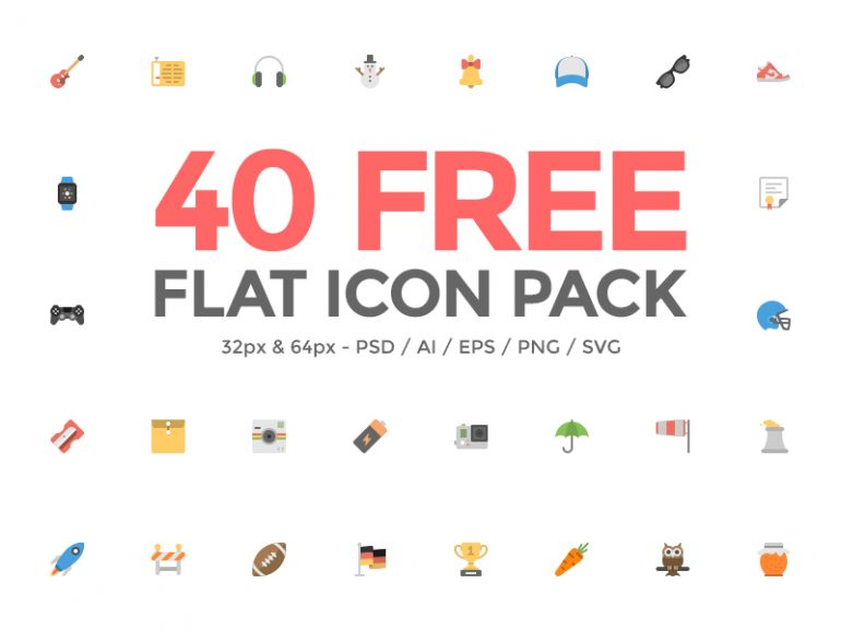 40 Free Flat Icon Pack