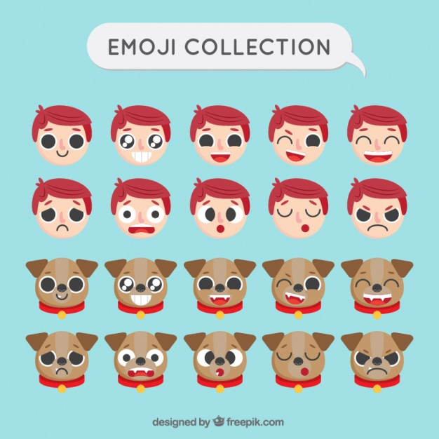 Boy and Dog Emoji set in flat design