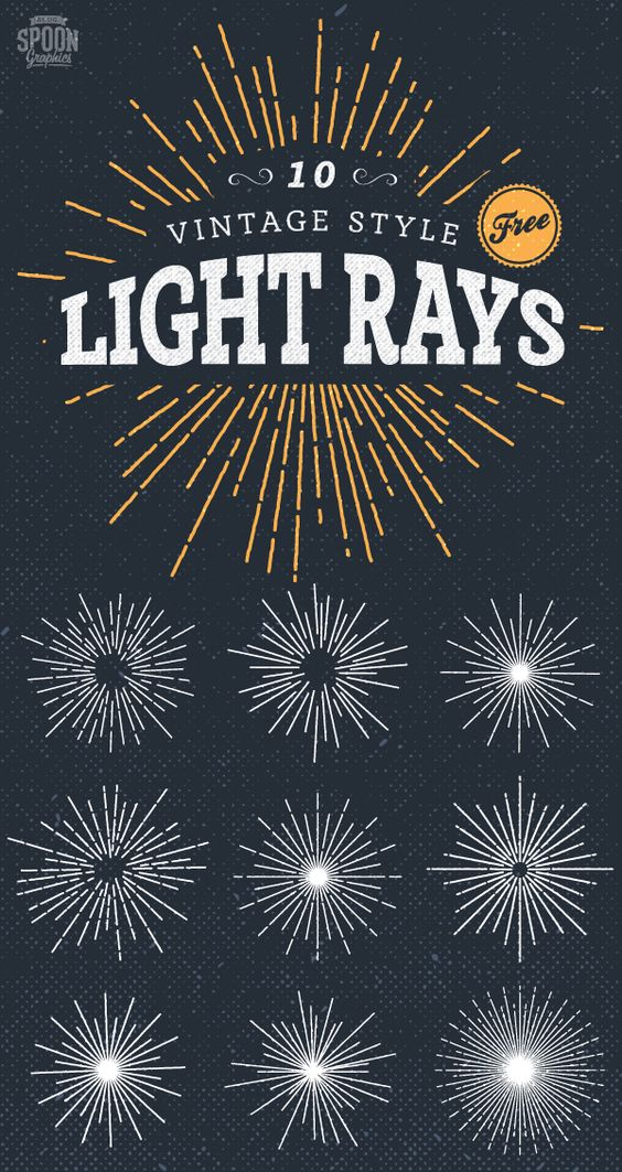 10 Vintage Style Illustrated Light Rays Free Vector