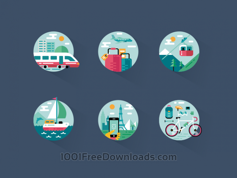 6 Free Travel Illustrations / Icons