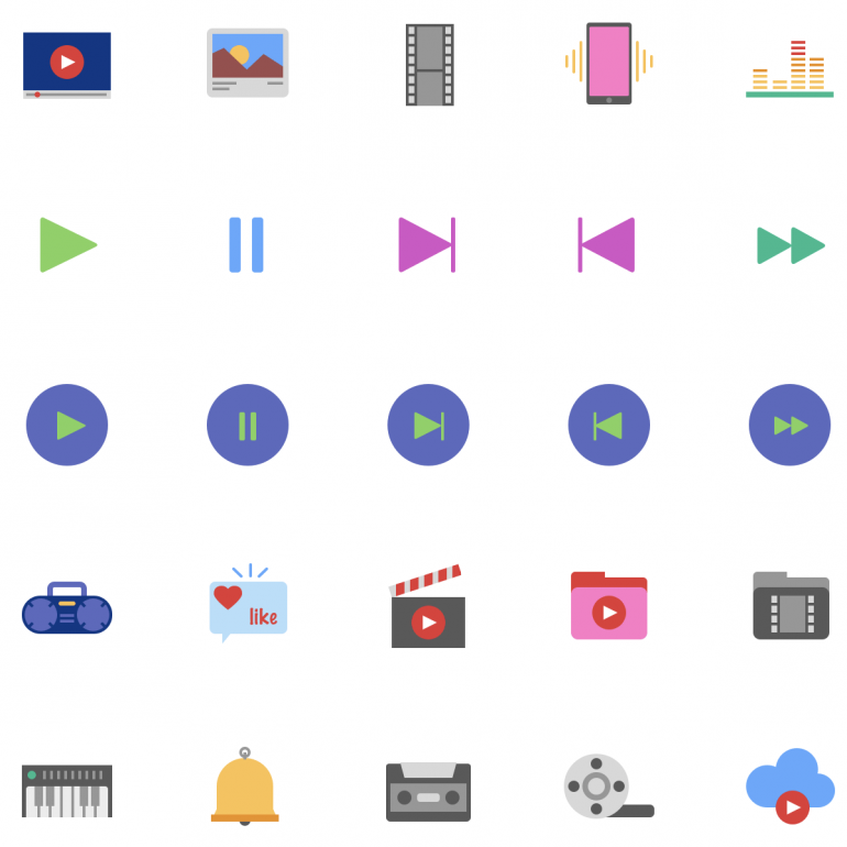 100 Free Multimedia Icons